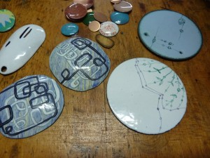 Enameling samples by Sarah Abramson